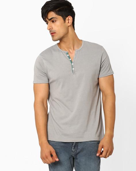 Slub-Knit Henley T-shirt By AJIO ( Greymelange )