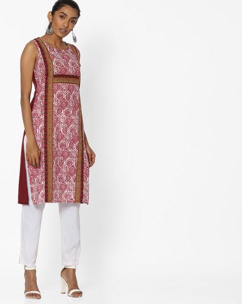 Printed Sleeveless Straight Kurta By Aaboli ( Maroon )