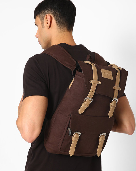 Rucksack-Style Backpack With Drawstring Closure By FAMOZI ( Darkbrown )