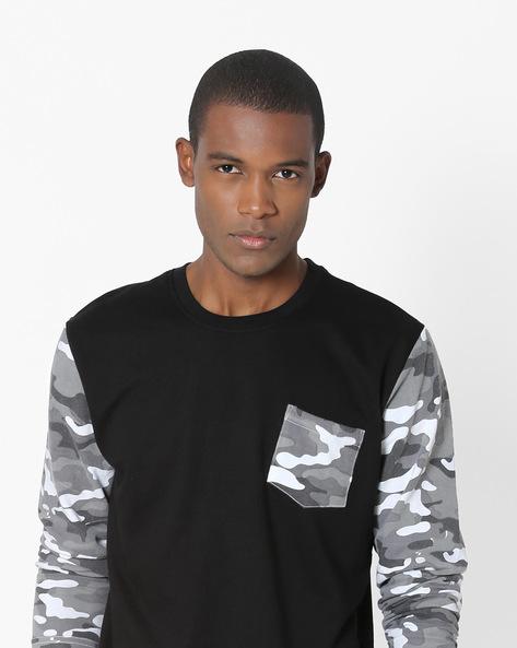 Crew-Neck Sweatshirt With Contrast Sleeves By DEEZENO ( Grey )