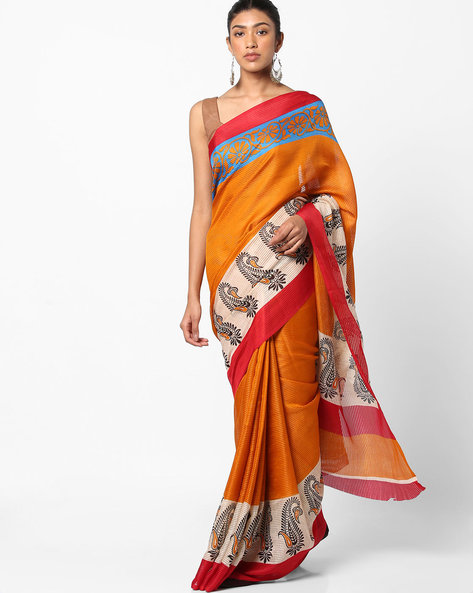 Self-Striped Saree With Contrast Border By Florence ( Multi )