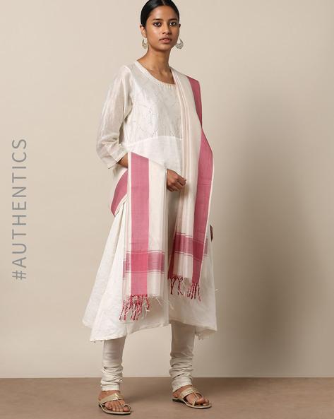 Handloom Maheshwari Dupatta With Woven Border By Indie Picks ( White )