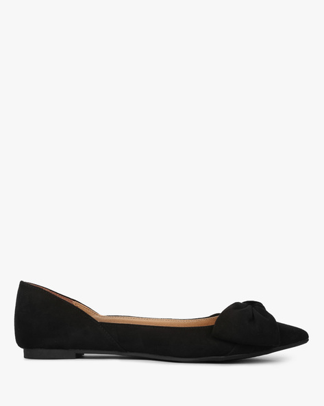 Pointy-Toe Ballerinas With Bow Accent By CHRISTIAN SIRIANO ( Black )