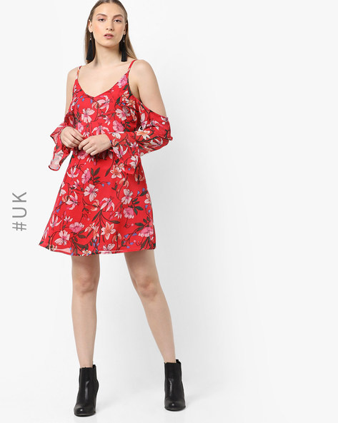 Floral Print Dress With Bell Sleeves By INFLUENCE ( Red )