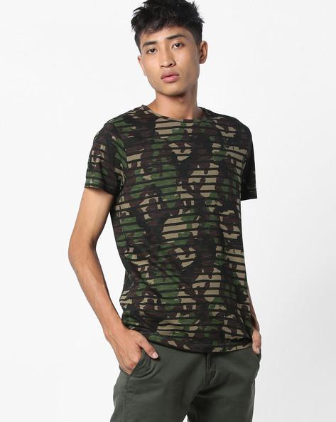 Striped Camo Print T-shirt By Jack & Jones ( Green )