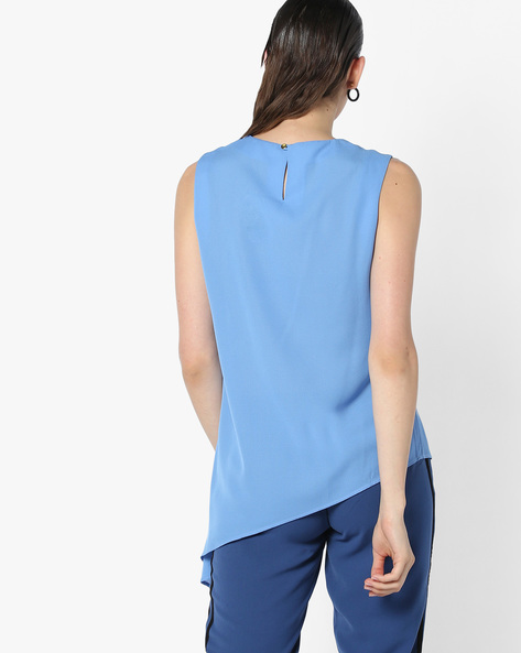 Sleeveless Top With Asymmetric Hemline By AJIO ( Blue )