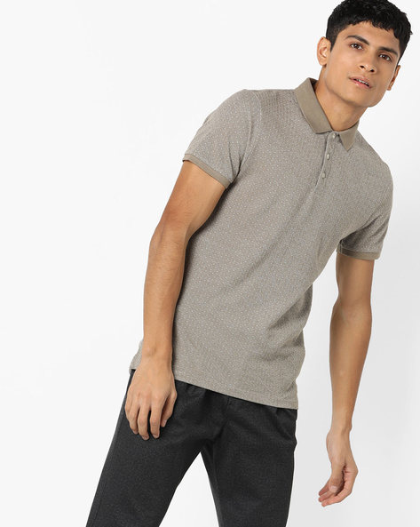 Slim Fit Patterned Polo T-shirt By Jack & Jones ( Grey )
