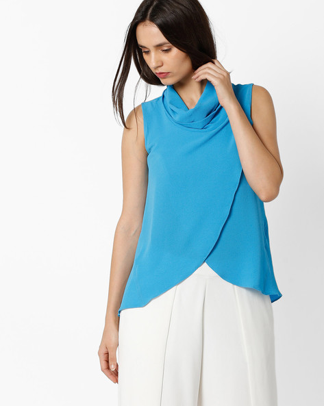 Cowl-Neck Top With Tulip Hem By And ( Blue )