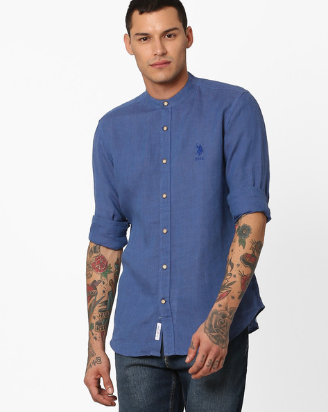 Linen Shirt With Mandarin Collar By US POLO ( Blue )