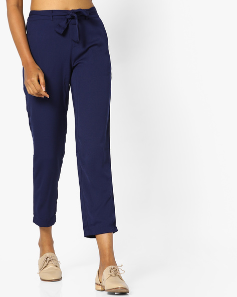 Flat-Front Pants With Tie-Up By PE WW Casual ( Navy )