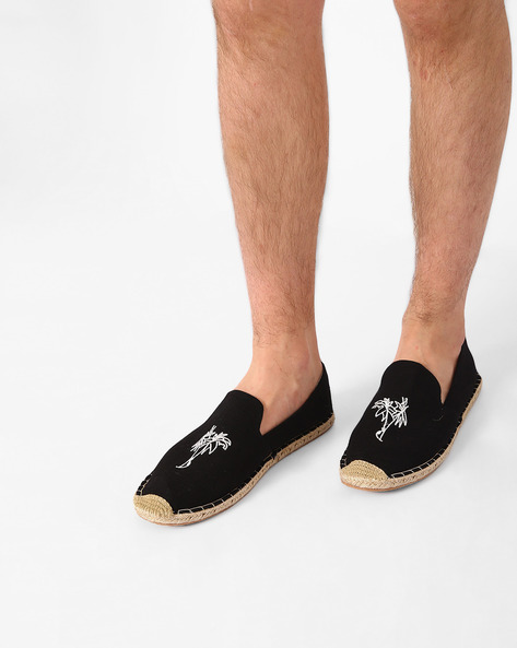 Canvas Espadrilles With Embroidery By AJIO ( Black )