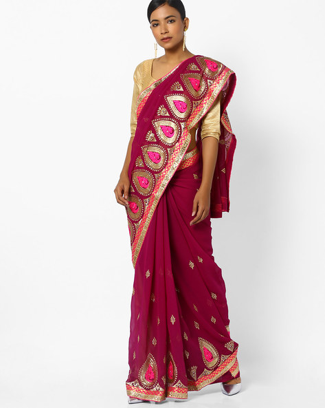 Saree With Zari Embroidery By CHHABRA 555 ( Purple )