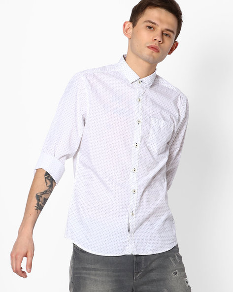 Printed Regular Fit Cotton Shirt By NETPLAY ( White )
