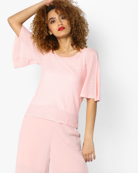 Self-Designed Top With Flared Sleeves By CODE By Lifestyle ( Pink )