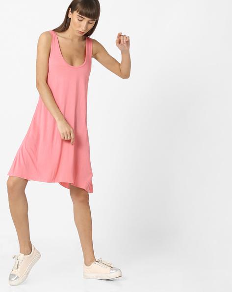 Sleeveless A-line Dress By Pink Woman ( Pink )