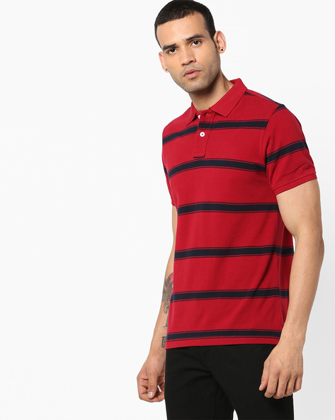 Slim Fit Striped Polo T-shirt By BASICS ( Red ) - 440877982002