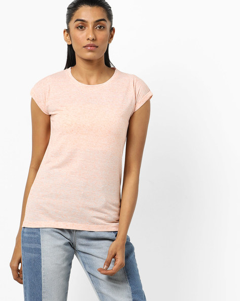 Heathered Crew-Neck T-shirt By Pepe Jeans ( Peach )
