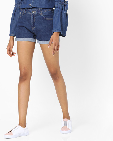 Mid-Rise Shorts With Upturned Hems By UNITED COLORS OF BENETTON ( Blue )