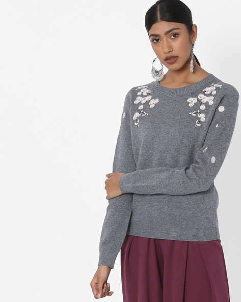 Crew-Neck Woven Top With Floral Embroidery By Vero Moda ( Greyheather )