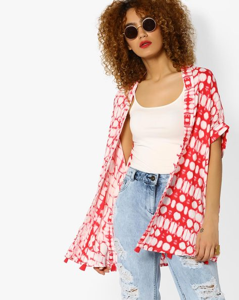 Printed Shrug With Tassels By AJIO ( Coral )