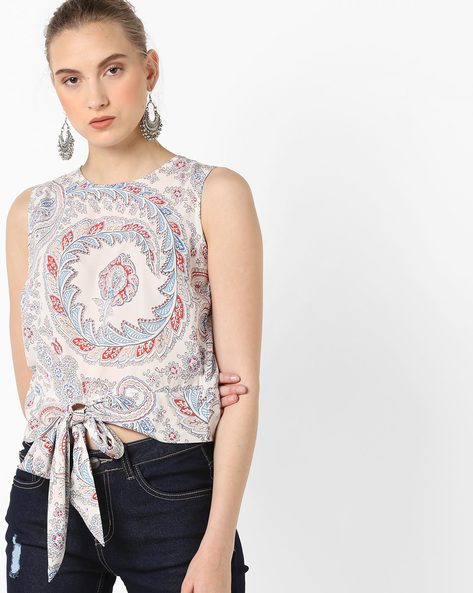 Sleeveless Top With Tie-Up By AJIO ( White )