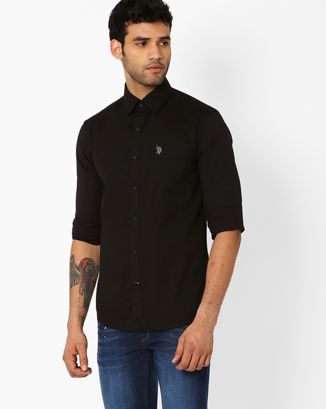 Standard Fit Cotton Shirt By US POLO ( Black )