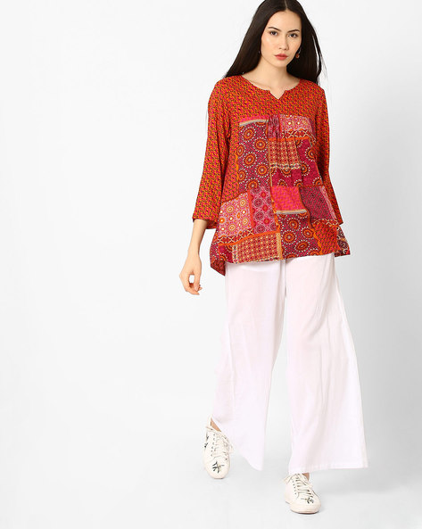 Patch Print Top By Global Desi ( Pink )