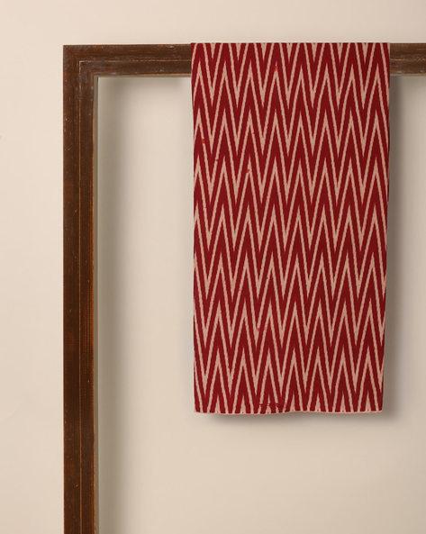Kalamkari Chevron Print Cotton Kurta Fabric By Indie Picks ( Red )