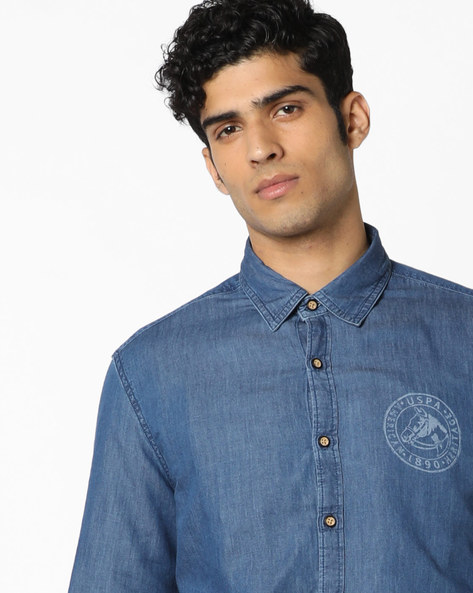 Slim Fit Cotton Shirt By US POLO ( Assorted )