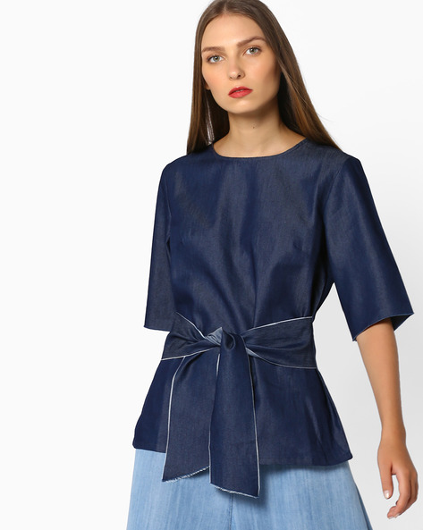 Boxy Top With Tie-Up By RI-DRESS ( Navy )