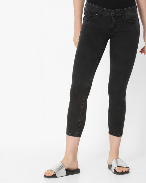 Mid-Calf Skinny Jeans With 5-Pockets By Pepe Jeans ( Black )
