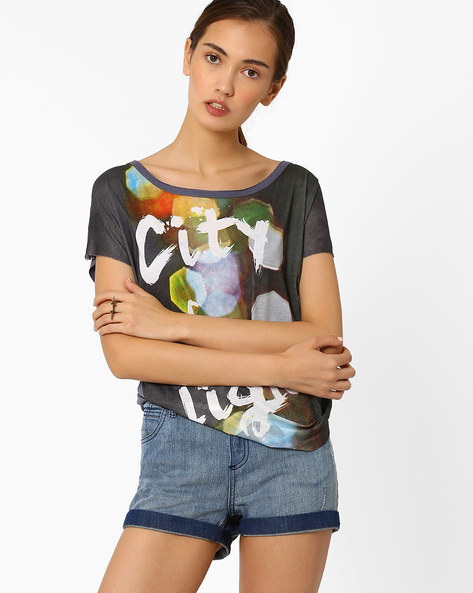 Graphic Print T-shirt By AJIO ( Charcoal )