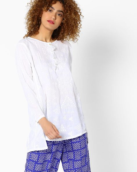 Tunic With Button Placket By Global Desi ( Printed )