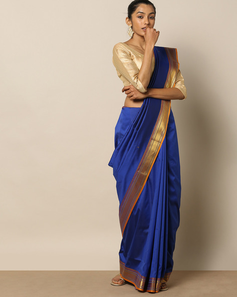 South Silk Buti Saree With Temple Border By Rudrakaashe-MSU ( Blue )