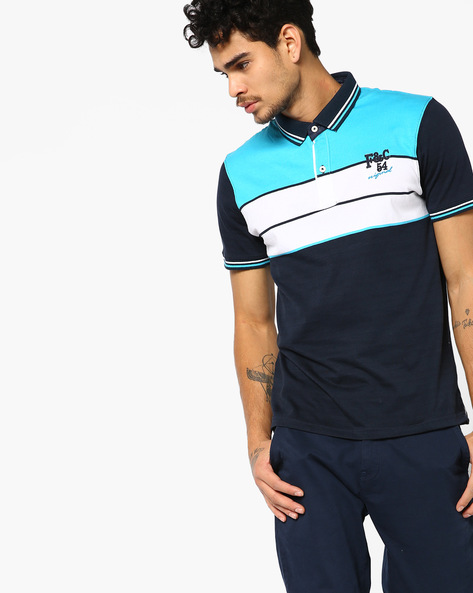 Striped Polo T-shirt With Vented Hem By Fort Collins ( Sblue )