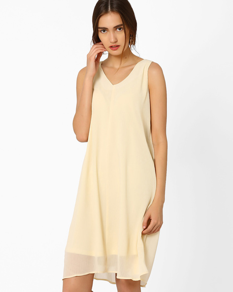 Sleeveless A-line Dress By AJIO ( Offwhite )