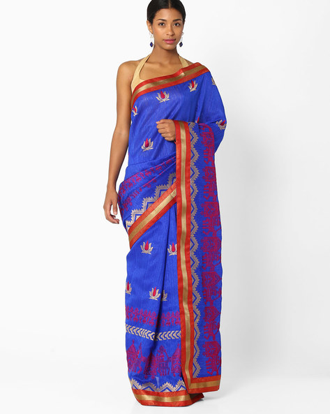 Floral Embroidered Saree By Amori ( Blue )