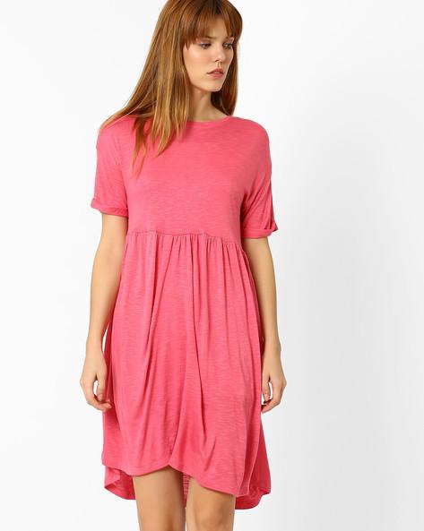 Slub Knit Fit & Flare Dress By AJIO ( Pink )