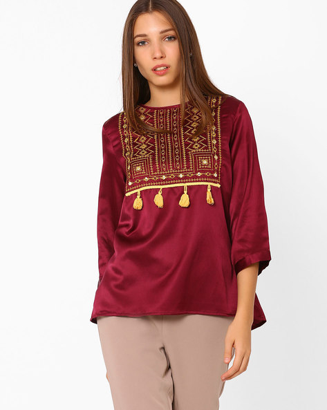 Embroidered Top With Tassel Detail By Rena Love ( Maroon )