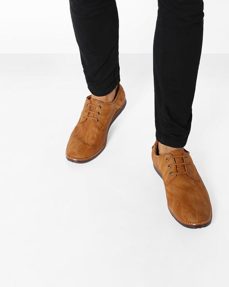 Punched Derby Shoes With Perforations By Modello Domani ( Tan )