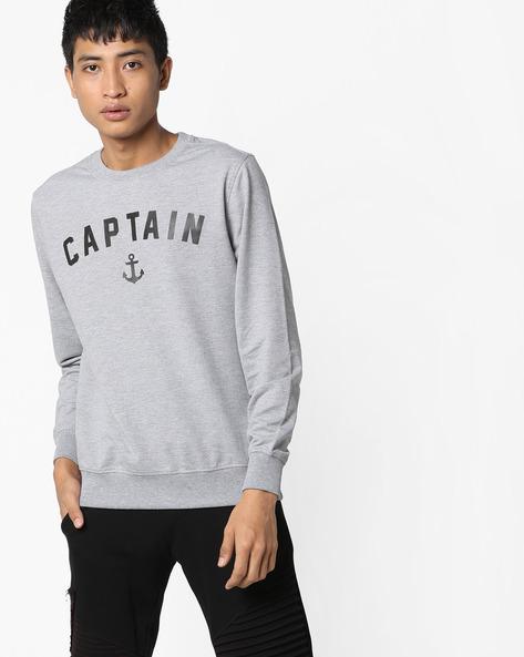 Typographic Print Crew-Neck Sweatshirt By AJIO ( Greymelange )