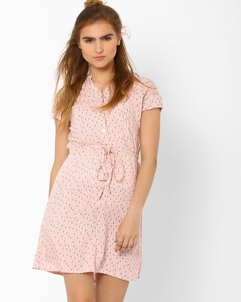 Printed Dress With Tie-Ups By CHM ( Pink )