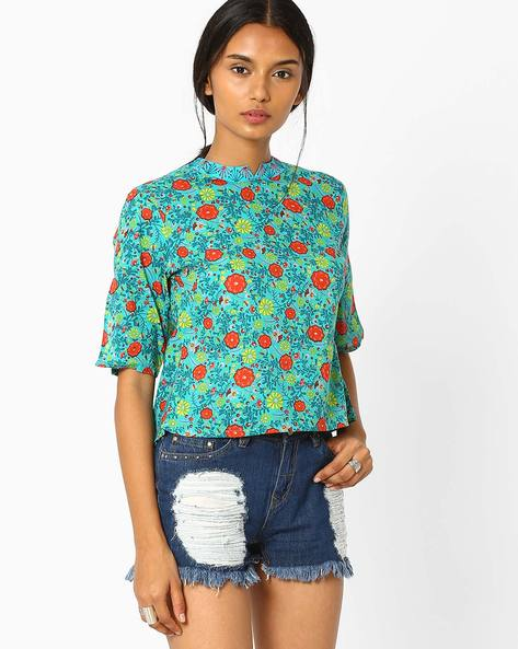 Floral Print Layered Top By AJIO ( Teal )