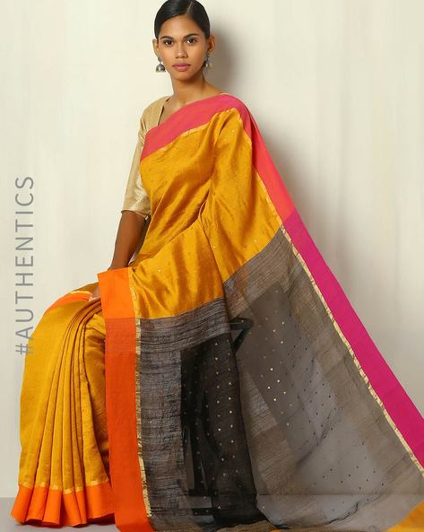 Handwoven Bengal Pure Silk Cotton Saree By Indie Picks ( Brown )