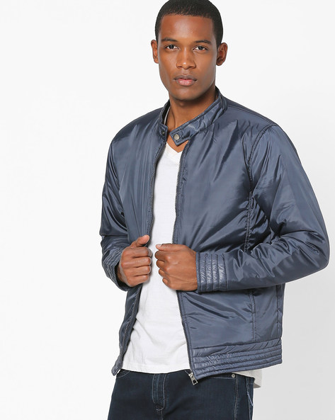 Biker Jacket With Quilted Hems By Campus Sutra ( Blue )