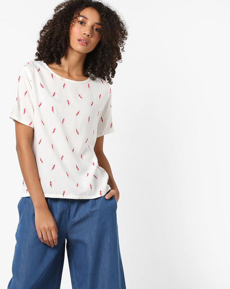 Printed Round-Neck Boxy Top By LEVIS ( White )