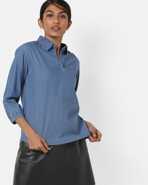 Textured Denim Top With Shirt Collar By AJIO ( Blue )