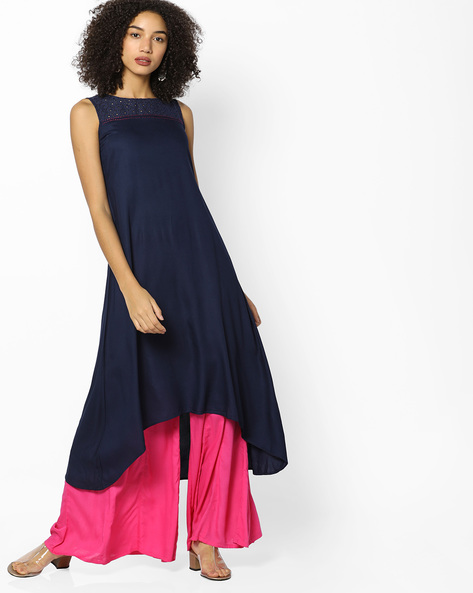 High-Low Kurta With Eyelet Detailing By AVAASA MIX N' MATCH ( Navy )