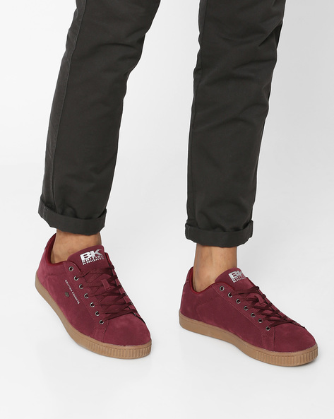 Suede Casual Shoes By British Knights ( Burgundy )