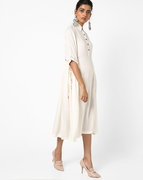 Flared Kurta With Printed Tie-Up By KIRA ( Offwhite ) - 460150461002